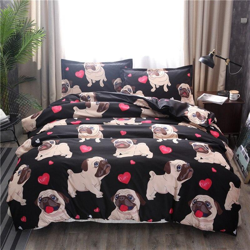 Black Pug Printed Bedding Sets