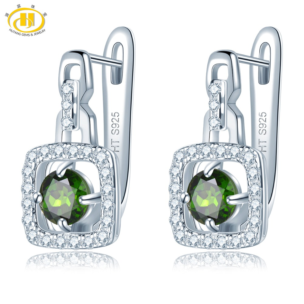 Hutang Diopside Clip Earrings Natural Gemstone Solid 925 Sterling Silver Fine Fashion Crystal Stone Jewelry for