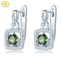 Hutang Diopside Clip Earrings Natural Gemstone Solid 925 Sterling Silver Fine Fashion Crystal Stone Jewelry for Women's Gift New