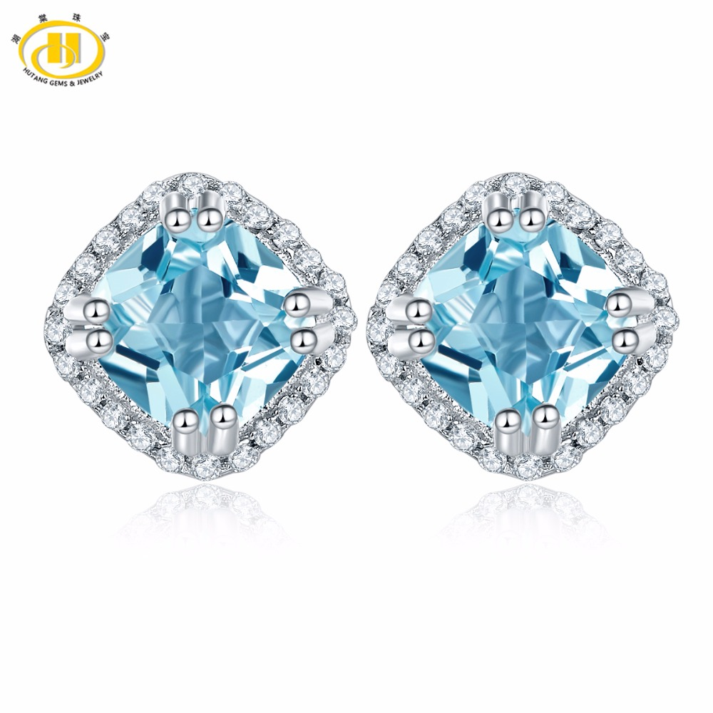 Hutang Earrings 1.95ct Natural Gemstone Sky Blue Topaz Solid 925 Sterling Silver Fine Fashion Stone Jewelry For Women's Gift NEW