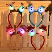 1Pcs Lighted Christmas Headband Hair Clasp Santa Claus Snowman Deer Bear Hairband Christmas New Year Decorations Baby Kids Gift