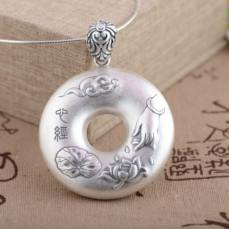 FNJ 925 Silver Round Flat Pendant Buddha 100% Pure S925 Solid Thai Silver Pendants for Women Men Jewelry Making