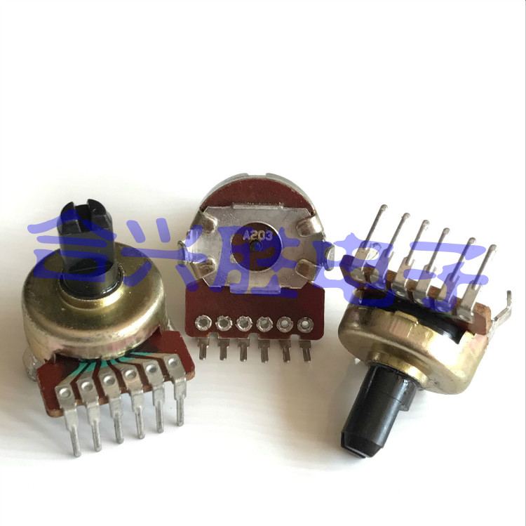2PCS/LOT 161 potentiometer double A20K/A203 stereo speakers, amplifier the volume potentiometer shaft 6 feet 10 mm long 142 horizontal double potentiometer a10k 7 feet long handle anti 18mm []