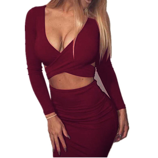 289dd719bf49c Lossky Women's Long Sleeve Elastic Cotton Winter Elegant Party Dresses Sexy  2018 Midi Pencil Club Bandage Bodycon Dress Hip -in Dresses from Women's ...