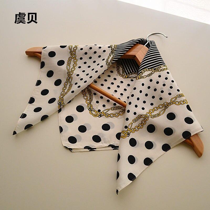 809f8591eb Foulard à pois noir et blanc mouchoir petit carré foulard en soie dames foulard  femme bandana wrap hôtesse de l'air 50 cm * 50 cm dans Foulards de  Vêtements ...