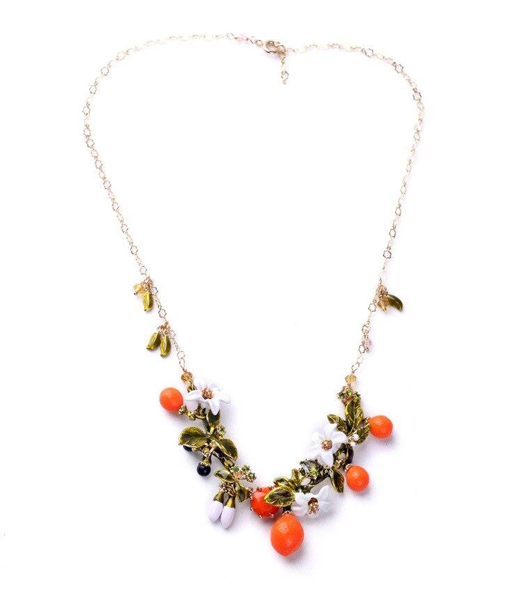 Prix pour Français Les néréides Orange feuilles fleur collier femmes luxe élégant parti collier marque bijoux
