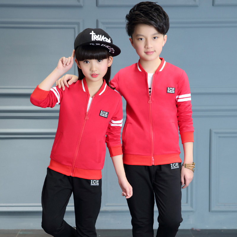 ФОТО 3 pcs sets long sleeve sport suit for boys girls coats t shirts long pants kids tracksuit boys girls sets gray red black spring