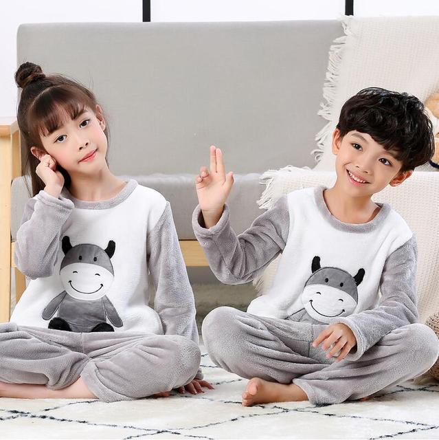 cc1230a3c2c0 Children Boy Warm Thick Fleece Cartoon Pyjamas Girl long sleeve ...