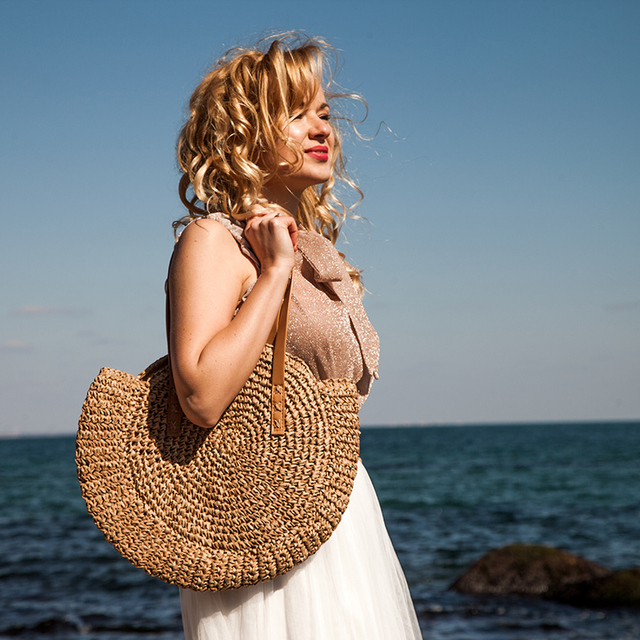 REREKAXI Hand-woven Round Woman's Shoulder Bag Handbag Bohemian Summer Straw Beach Bag Travel Shopping Female Tote Wicker Bags 1