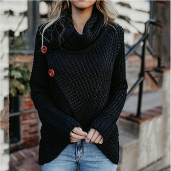 2019 winter clothes women hot  pull femme long-sleeved irregular fashion cardigan women turtleneck  button sweater female W599