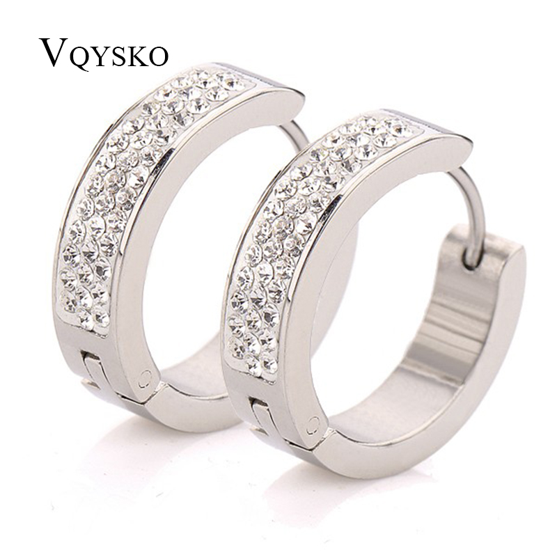 Fashion Shiny Women Earrings With Full rhinestone Crystal Pave Stainless steel Earring Jewelry for women Accessories