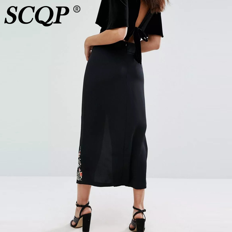 Aliexpress.com : Buy SCQP Floral Embroidery Black Pencil Skirt ...