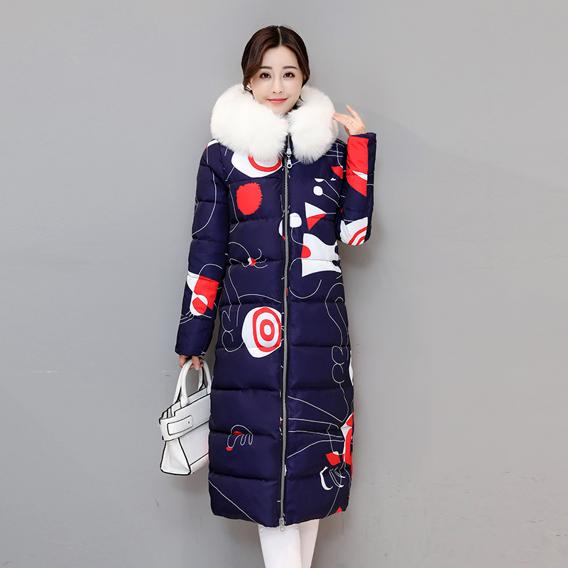 2017 New Winter Women's Parkas Fur Collar Print Pattern Hooded Warm Jacket Fashion High Quality Thick Outwear Female Coat valstone new quality winter warm parkas men thick coats regular pattern leather collar warm clothing velvet overcoat hooded 3xl
