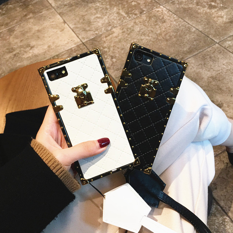 luxury Square Plaid pattern Case for iPhone X XS Max XR 6 6S 7 8 Plus cases cover Fashion girl PU leather Phone bag with lanyard iPhone