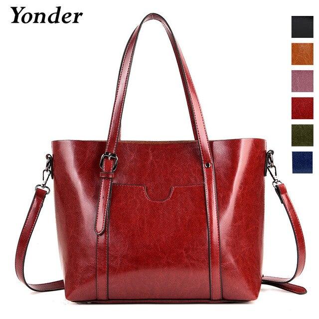 512a98246f Yonder genuine leather shoulder bags for women casual female totes large  capacity ladies handbag vintage women