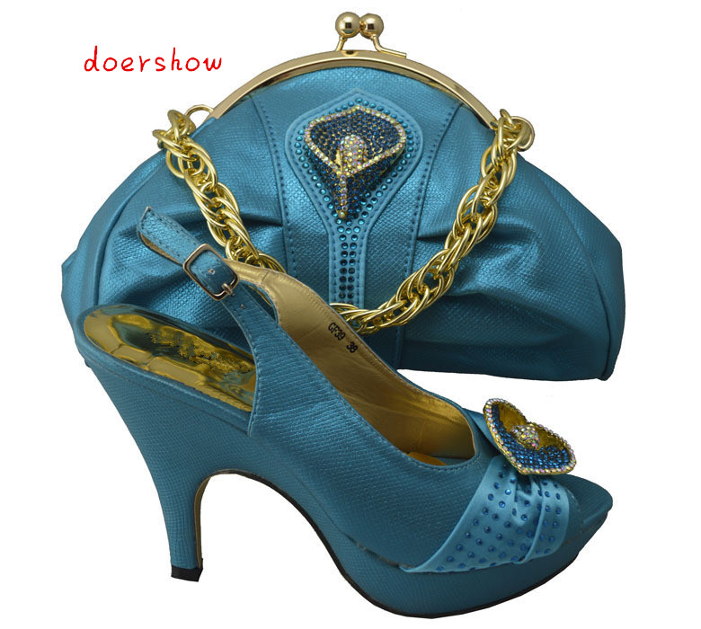 doershow sky blue Nigerian High Heel Shoes And Bag With Matching Elegant Italian Matching Shoe And Bag Set With Stones !HP1-26-1 брелок blue sky faux taobao pc006