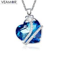 Veamor prawdziwe srebro 925 miłość serce wisiorek niebieski kryształ z Australii kobiet naszyjniki wisiorek biżuteria, m. in. łańcucha