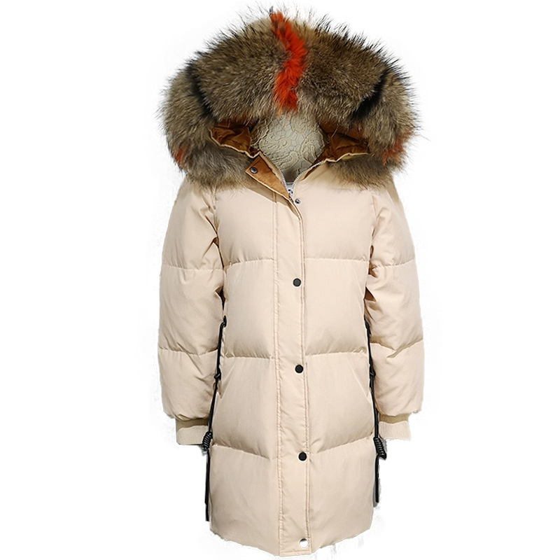 (TopFurMall) Autumn Winter Women Parkas   Down     Coats   Real Raccoon Fur Hoody 80% Duck   Down   Lady Outerwear Overcoat Plus Size LF5171