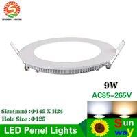 Крытый светодио дный светильники AC85 265V 9 Вт светодио дный панели Свет выреза отверстие диаметром 125 мм светодио дный круглый потолочный свет