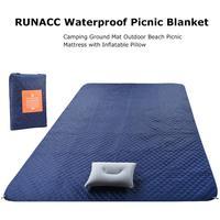 Waterproof Picnic Blanket Camping Ground Mat Sand Free Beach Mat Outdoor Picnic Mattress With Inflatable Pillow Colchoneta