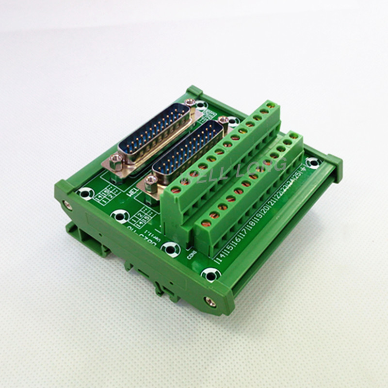 D-SUB DB25 DIN Rail Mount Interface Module, Double Male Header Breakout Board, Terminal Block, Connector.