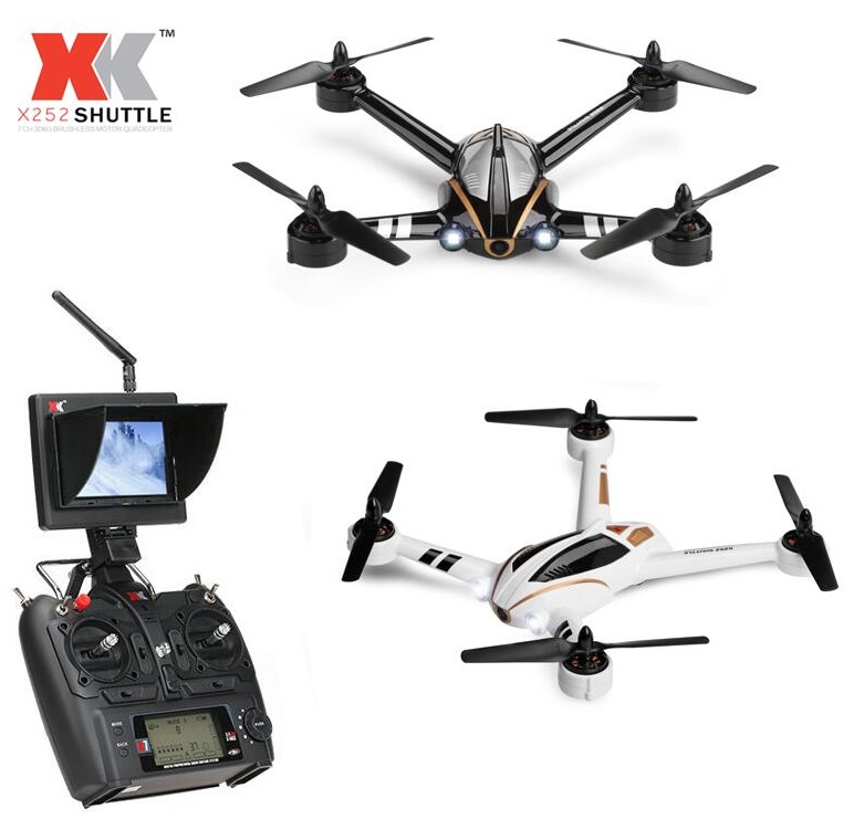 XK X252 5.8G Real-time Transmission FPV RC Quadcopter With 720P Wide-Angle HD Camera & Brushless Motor 3D 6G Mode RTF  wltoys v686g 4ch 5 8g fpv real time transmission 2 4g rc quadcopter with 2 0mp camera headless mode auto return function us plug