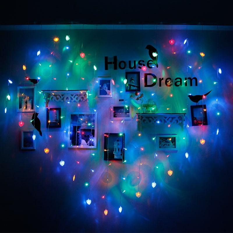 2x1,5 м светодиодная гирлянда в форме сердца, светодиодная Рождественская гирлянда, 220 В, светодиодная гирлянда на дерево, романтическое сваде...