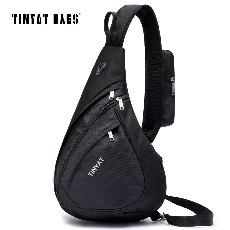 TINYAT Men Casual Chest Bag Pack Functional Crossbody Travel Bag Modern Outside High Capacity Messenger bag Pack Sling Bags T509 casual canvas satchel men sling bag