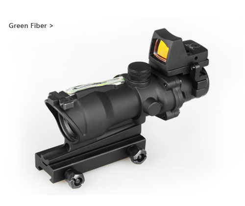 Hot Sale 4x32 ACOG Style Green Fiber Rifle Scope With Mini Red Dot Sight For Hunting BWR-046GRN цены онлайн