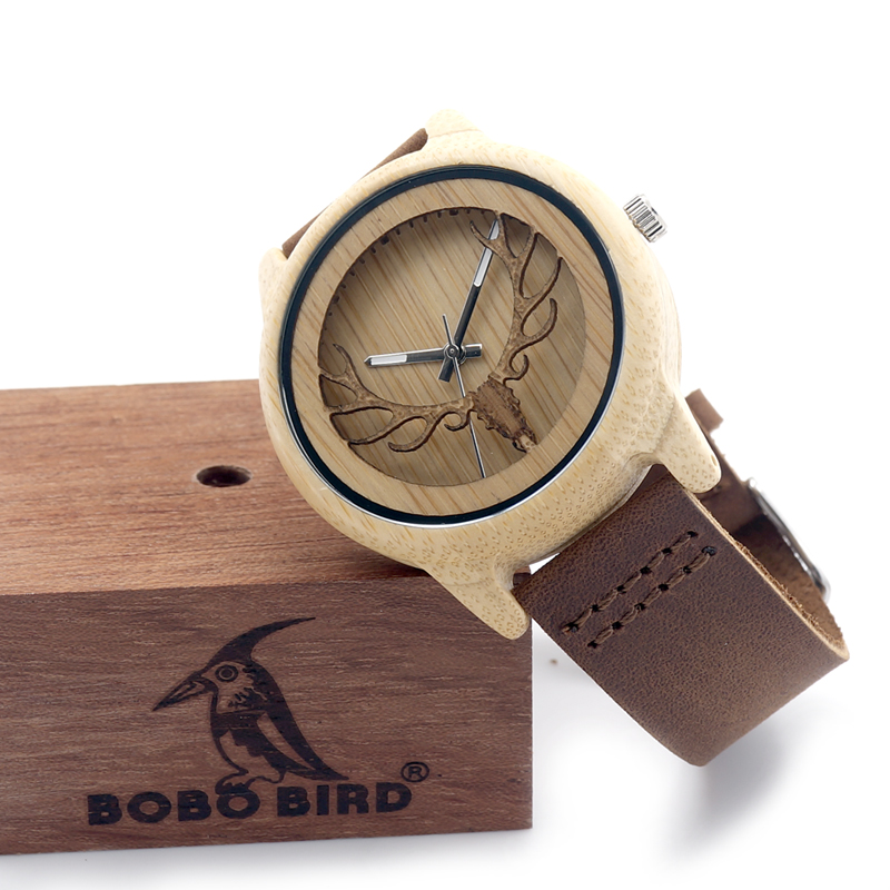 Deer Head Design Hollow Out Bamboo Træ Quartz Watch Med Læder Strap - Mænds ure - Foto 4