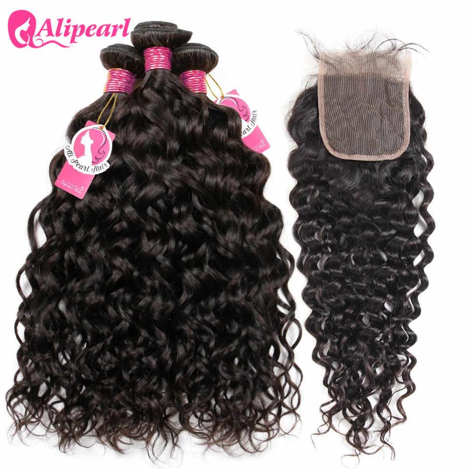 Alipearl cabelo 4 pacotes com fechamento onda de água brasileira pacotes com fechamento do laço do cabelo do bebê 5 pçs lotes extensões de cabelo remy