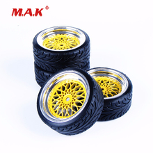4Pcs/Set 1/10 Scale RC Flat Drift Tires and Wheel Rim with 3mm Offset and 12mm Hex fit HSP HPI RC On-Road Car Accessories 12mm hex rc car model kids toys accessory 1 10 flat rubber tires and wheel rim for hsp hpi rc on road racing car 10365 21006