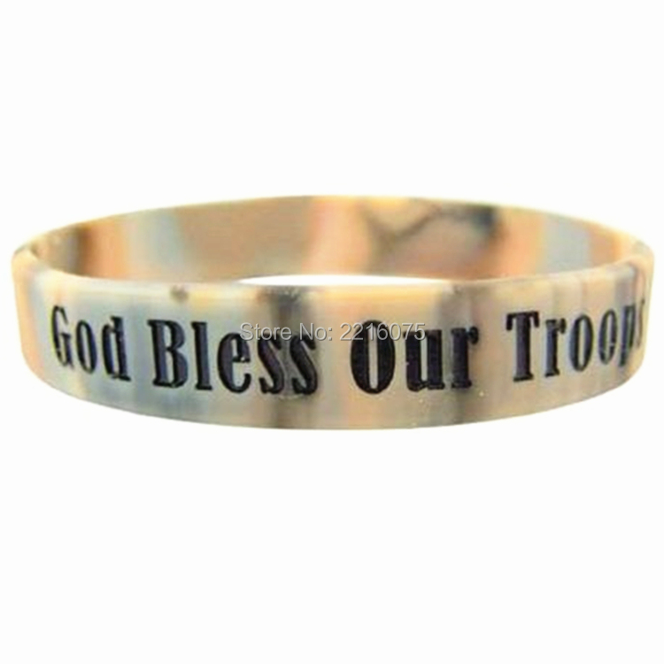 Bless Our Troops Camoflage Color 8 Inch Stretchable Silicone Bracelet Wristband