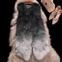 Цвет постепенное из натурального меха енота Жилеты Женская мода рукавов натурального меха куртки и пальто для на осень зиму