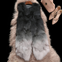 Color gradual real raccoon fur vests waistcoats women fashion sleeveless natural fur jackets and coats for autumn winter