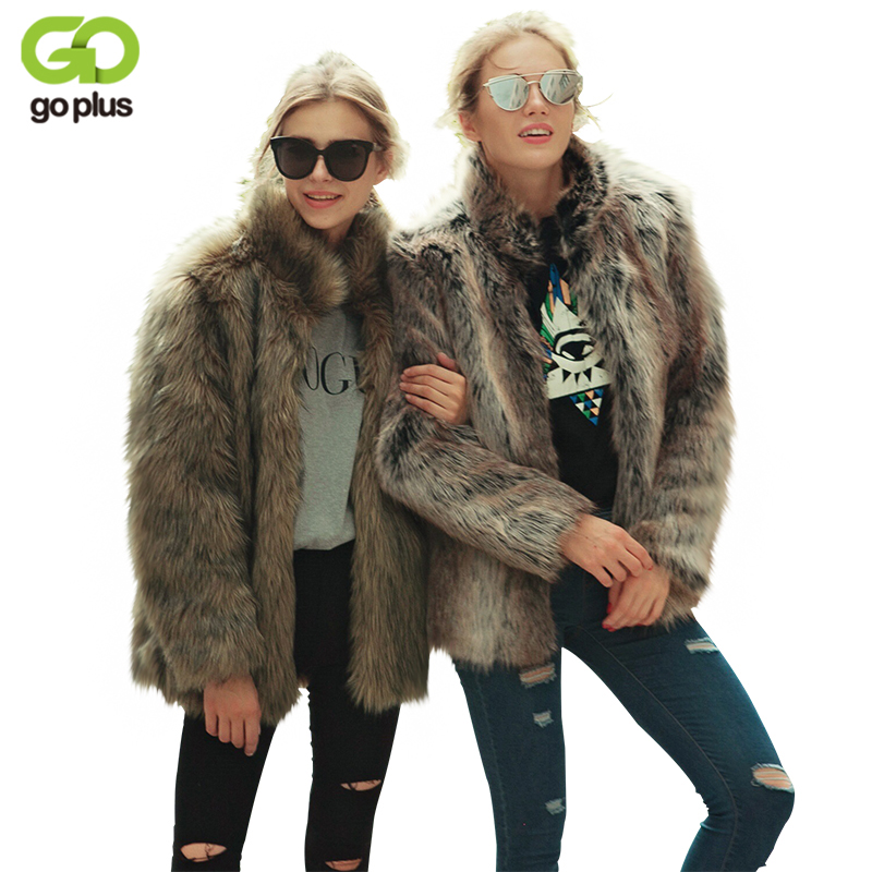 GOPLUS Fur Coat Winter Fashion Women Faux Fur Coat Stand Collar Furry Woman Fake Fur Jacket Luxury Long Fur Coat Jacket C4711 contrast faux fur collar ripped detail jacket