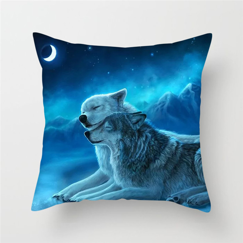 Fuwatacchi Wolf Animal Printed Pillow Cover Throw Pillows Case Polyester Square Modern Home Decor