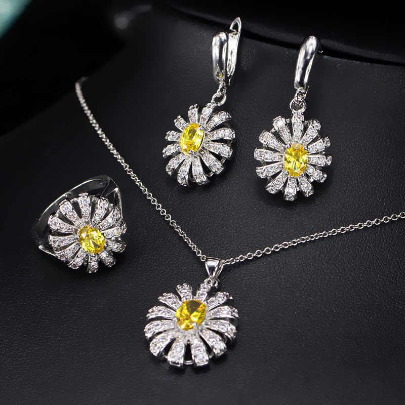 CWWZircons น่ารักดอกไม้ CZ หินและคริสตัลสีเขียวสร้อยคอแหวนต่างหูชุดแฟชั่น 925 เงินสเตอร์ลิงเครื่องประดับสำหรับผู้หญิง T282