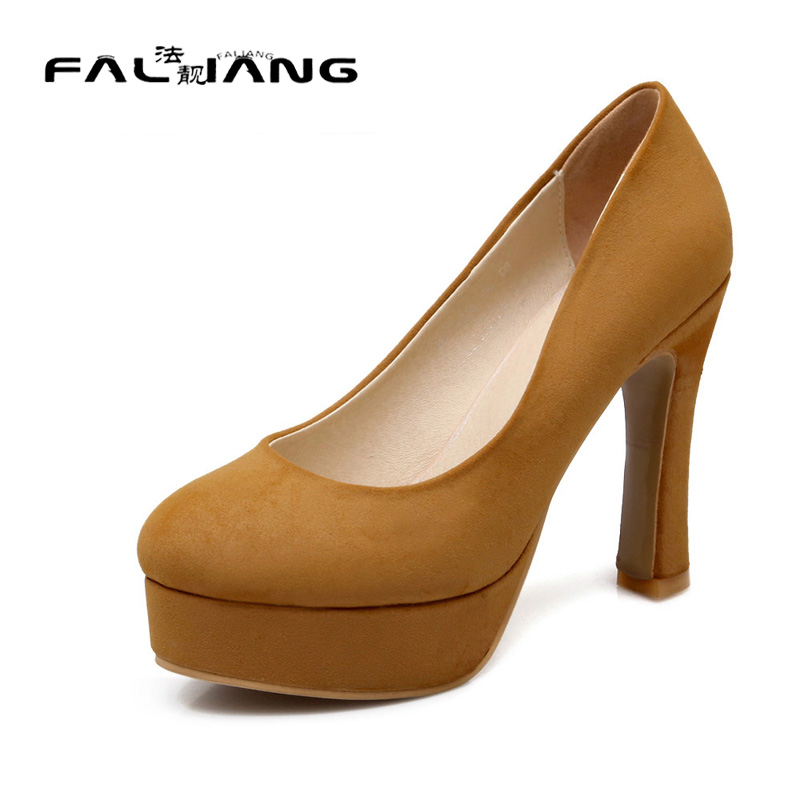 ФОТО Big Size 11 12 13 14 15 Sexy Round Toe Casual Square heel Women's Shoes Extreme High Heels Pumps Woman For Women Platform Shoes