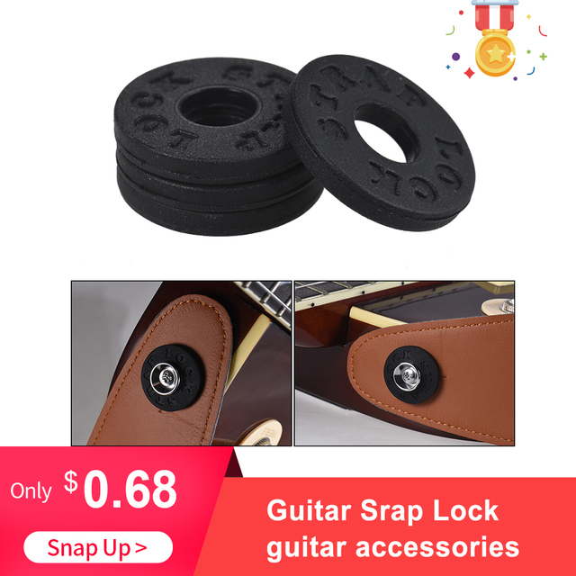 4 pcs גיטרה רצועת נעילת גיטרה חלקים ואבזרים חשמלי גיטרה רצועת מנעולים בלוקים גומי חומר בס