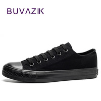 All Black Canvas Shoes Women Casual Shoe Zapatos Summer Spring Breathable Flat Low Heel Footwear