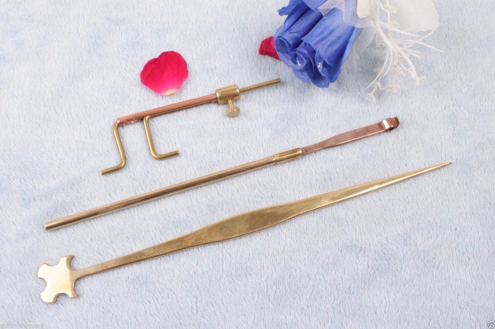 One set violin sound post tool retriever pull soundpost Clamps setter gauge #282 3 pcs brass cello tools cello sound post setter retriever gauge luthier tool