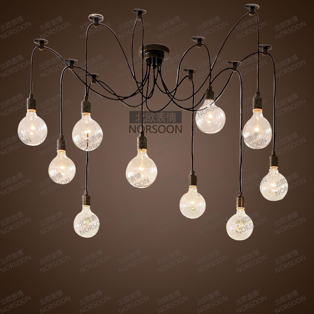 American Style Pendant Light Brief Modern Vintage Big Bulb Octopus Lamp