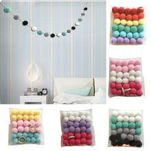 Шерстяные фетровые шары в скандинавском стиле, цветные помпоны для детской комнаты, настенная гирлянда для вечеринки на день рождения, декор для детской комнаты, подвесное украшение