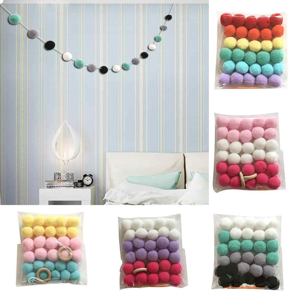 Wool Felt Balls Nordic Style Colorful Pom Ball Kids Room Wall Hanging Garland Birthday Party Nursery Decor Hanging Ornament!