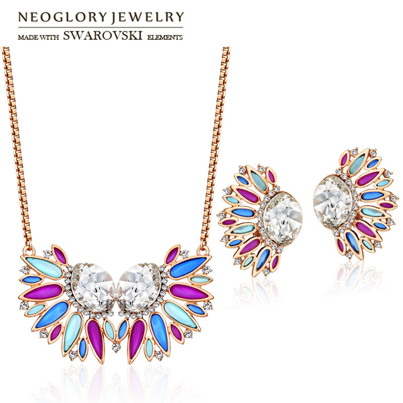 Neoglory MADE WITH SWAROVSKI ELEMENTS Crystal & Rhinestone Jewelry Set Enamel Luxuriant Rose Gold Color Necklace & Earrings rhinestone rose floral necklace
