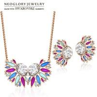 Neoglory made with swarovski elements cristal et strass ensemble de bijoux émail luxuriante rose or couleur collier et boucles d'oreilles