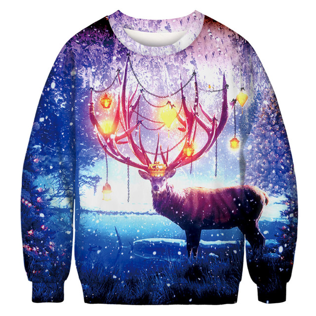 2018 Autumn Winter Men Hooded 3D Animal Christmas Printing Male Casual Sweatshirt O-neck Long Sleeve Pullovers Hoodies for Male