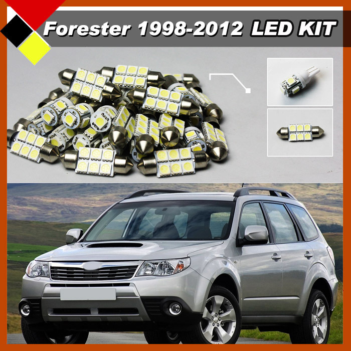 Car LED Kit Set Lights Vehicle White 12V Interior Map Dome Exterior License Plate Bulbs Quality Warrant For 1998-2012 Forester 194 168 5050 w5w t10 5 smd white led light bulbs replacement for interior dome map dashboard lights lamp exterior license