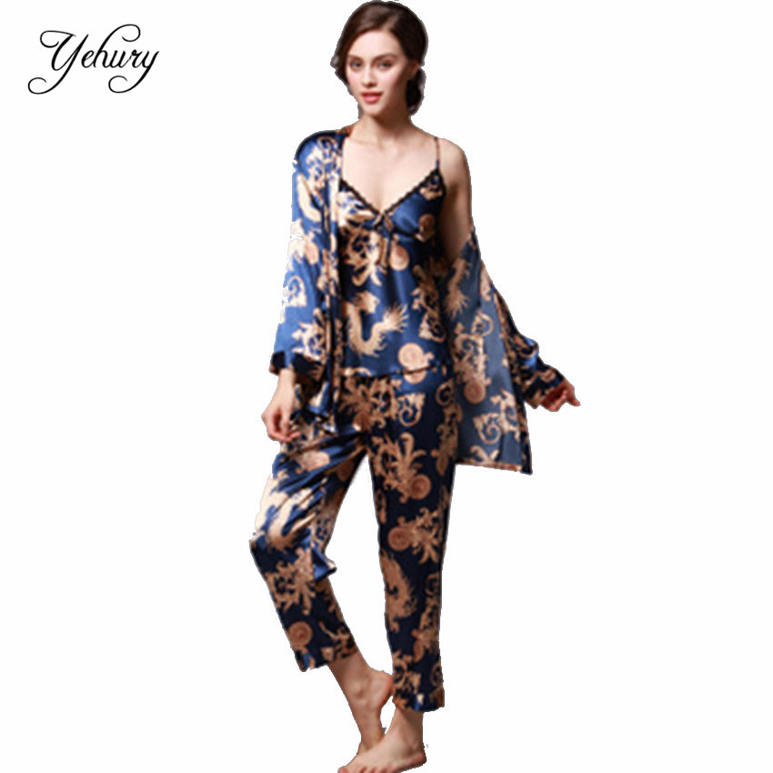 Spring Summer Dressing Gown Bathrobe Women Sleepwear Pajamas Sets ...
